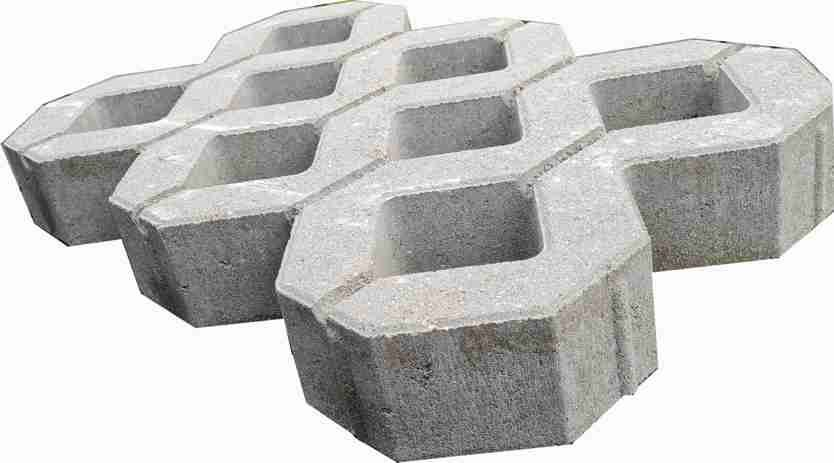 Beton-Rasengittersteine 60 x 40 x 10 cm naturgrau