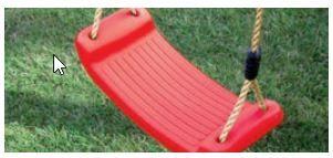 Kunststoffschaukelbrett  rot  incl. Seil    L1033